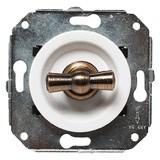 Выключатель  2-х позиционный для внутреннего монтажа проходной Salvador CL11WT белый латунь