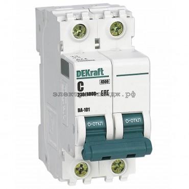 Автоматический выключатель ВА-101 40A 2P C 4,5кА DEKraft