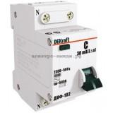 Дифференциальный автоматический выключатель ДИФ-102 1P+N 06А/30мА (хар. C) 4,5кА DEKraft