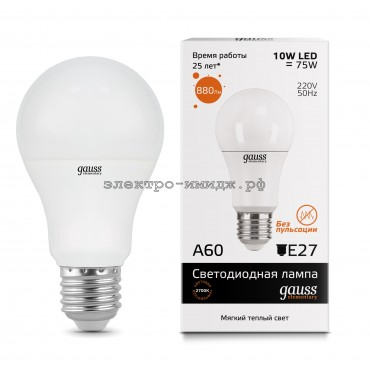 Лампа светодиодная LED-A60 10W 2700K E27 220V Gauss elementary
