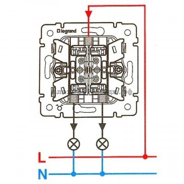 двойной выключатель шнайдер с индикацией как подключить