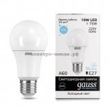 Лампа светодиодная LED-A60 10W 6500K E27 220V Gauss elementary