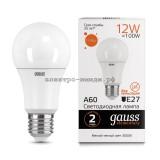 Лампа светодиодная LED-A60 12W 3000K E27 220V Gauss elementary