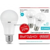 Лампа светодиодная LED-A60 15W 4100K E27 (ПРОМО-2шт) Gauss elementary