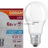 Лампа светодиодная LED-A60 CLA40 6W E27 6500K 470Lm Osram
