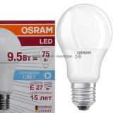 Лампа светодиодная LED-A60 CLA40 9.5W E27 6500K 806Lm Osram