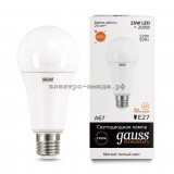 Лампа светодиодная LED-A60 25W 3000K E27 220V Gauss elementary