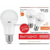 Лампа светодиодная LED-A60 15W 2700K E27 (ПРОМО-2шт) Gauss elementary