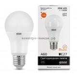 Лампа светодиодная LED-A60 20W 3000K E27 220V Gauss elementary