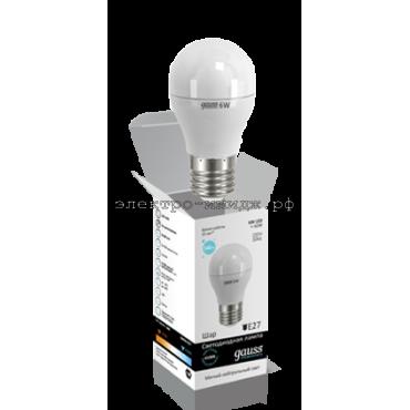 Лампа светодиодная LED-ШАР 6W E27 2700K Gauss elementary