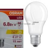 Лампа светодиодная LED-A60 CLA40 6.8W E27 2700K 600Lm Osram